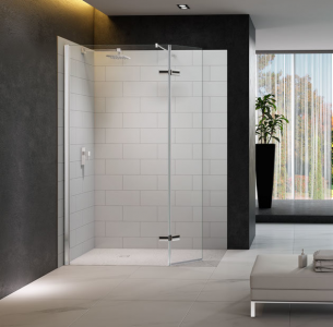 MERLYN M8SW1HB Series 8 Wetroom - Showerwall with Hinged Swivel Panel & Shower Tray