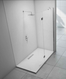 MERLYN M8SWCHP Series 8 - Showerwall with Curved Hinged Panel