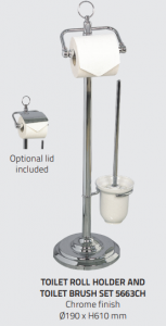Miller 5663CH Classic Freestanding Toilet Roll Holder & Brush Set 610mm Chrome