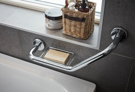 Miller 5675CH Classic Angled Grab Bar with Basket 220x460mm Chrome