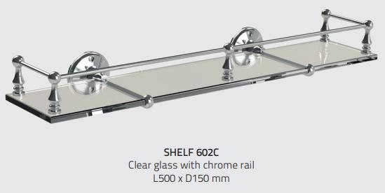 Miller 602C Stockholm Clear Glass Shelf 500mm Chrome