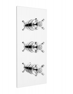 BRISTAN 1901 Recessed Thermostatic Dual Control Shower Valve with Integral Twin Stopcocks Chrome