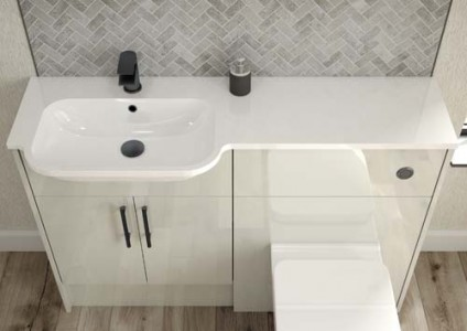 Origins by Utopia All in one basin - Left Hand - White 1TH  1246 x 20 x 320 [ONP196]