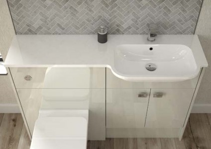 Origins by Utopia All in one basin - Right Hand - White 1TH 1246 x 20 x 320 [ONP197]