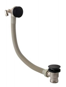The White Space Overflow Bath Filler with Sprung Plug Waste - Black [PZB1B]
