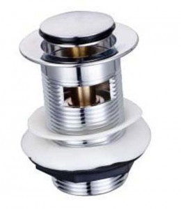 The White Space Sprung Plug Basin Waste - Small Cover - Slotted Sprung Waste - Chrome [PZW3C]