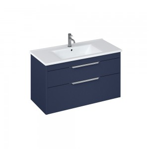 Britton S100DDB Shoreditch 1000mm Wall Hung Unit with Double Drawer - Matt Blue