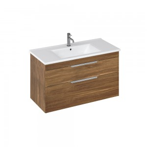 Britton S100DDC Shoreditch 1000mm Wall Hung Vanity Unit with Double Drawer - Caramel
