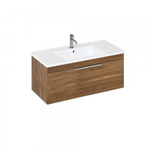 Britton S100SDC Shoreditch 1000mm Wall Hung Vanity Unit with Drawer - Caramel
