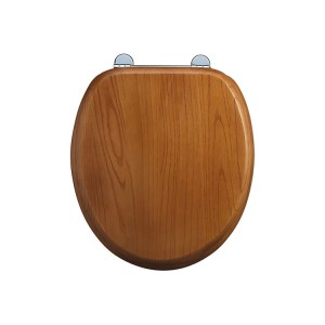 Burlington Seat and cover with chrome hinges and lift handle - Golden Oak [S11]
