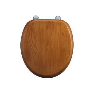 Burlington Soft close seat and cover with chrome hinges - Golden Oak [S16]
