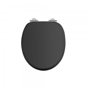 Burlington Soft close seat and cover with chrome hinges - Matt Black [S48]