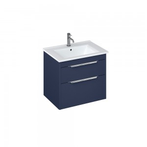 Britton S65DDB Shoreditch 650mm Wall Hung Vanity Unit with Double Drawer - Matt Blue