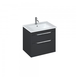 Britton S65DDG Shoreditch 650mm Wall Hung Vanity Unit with Double Drawer - Matt Grey
