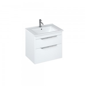Britton S65DDW Shoreditch 650mm Wall Hung Vanity Unit with Double Drawer - Matt White