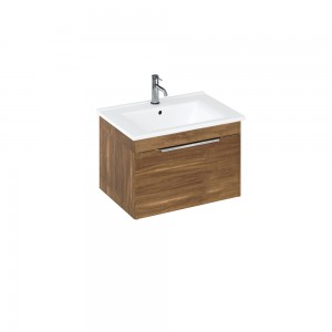 Britton S65SDC Shoreditch 650mm Wall Hung Vanity Unit with Drawer - Caramel