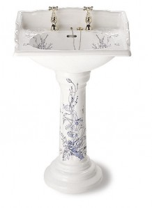 Silverdale Victorian Pedestal Fluted White With Blue Pattern  VCPEDWHIBP