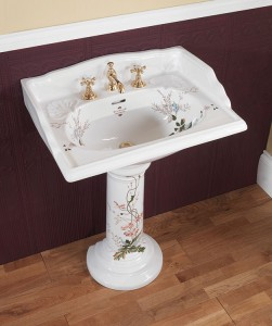 Silverdale Victorian Pedestal Fluted White With Victorian Garden  VCPEDWHIVG