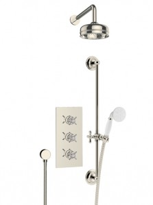 HERITAGE SDCDUAL06 Dawlish Recessed Shower with Premium Fixed Head Kit & Flexible Riser Kit - Vintage Gold