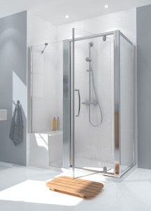 Lakes CLASSIC - SEATED SHOWER TRAY & IN-LINE PANEL - POLISHED SILVER  LKIST700S