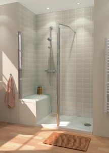 Lakes CLASSIC - SEATED SHOWER TRAY & IN-LINE PANEL - SHOWER SEATED TRAY  LKST8015