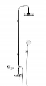 HERITAGE SGRDMOPDUAL01 Gracechurch Exposed Shower with Deluxe Fixed Riser Kit & Diverter to Handset - Chrome & Mother of Pearl Handles