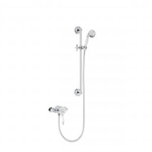 HERITAGE SGSIN05 Glastonbury Exposed Shower with Premium Flexible Riser Kit - Chrome & White Handle