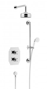 HERITAGE SHDDUAL05 Hartlebury Recessed Shower with Premium Fixed Head & Flexible Riser Kits - Chrome