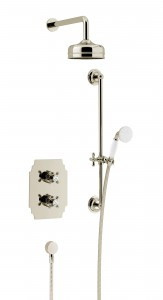 HERITAGE SHDDUAL06 Hartlebury Recessed Shower with Premium Fixed Head & Flexible Riser Kits - Vintage Gold