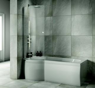 Sommer SOB51 P Curved Bath Screen 1470 x 746mm - Chrome