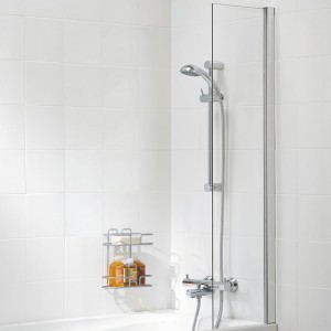 Lakes Classic Curtain Panel Bath ScreenW0 x 1400mm - For Use With Shower Curtain  SS90S