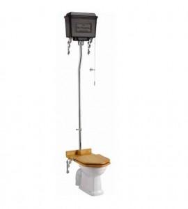 Burlington T60BLA High Level Dual Flush Cistern with Fittings Black Aluminium