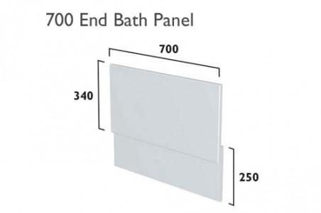 Tavistock TBP07SGLG Calm 700mm Bath End Panel - Gloss Light Grey