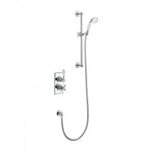 Burlington Showering Trent Concealed with Slide Rail Hose and Handset with slide rail hose and handset - Chrome/white [TF1H]