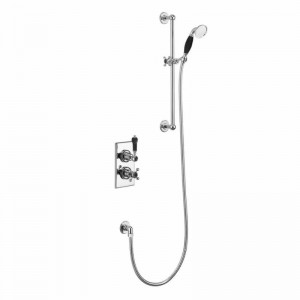 Burlington Showering Trent Concealed with Slide Rail Hose and Handset with slide rail hose and handset - Chrome/black [TF1HBLA]