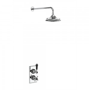 Burlington Showering Trent Concealed with Fixed Head with fixed shower arm - Chrome/black [TF1SBLA]