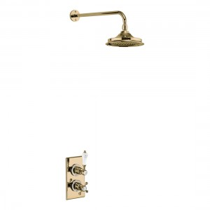Burlington Showering Trent Concealed with Fixed Head with fixed shower arm - Gold/white [TF1SGOLD]