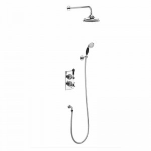 Burlington Trent thermostatic concealed shower valve - two outlet with fixed shower arm handset and holder with hose - chrome/black [TF2SBLA]