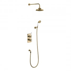 Burlington Trent thermostatic concealed shower valve - two outlet with fixed shower arm handset and holder with hose - Gold/white [TF2SGOLD]