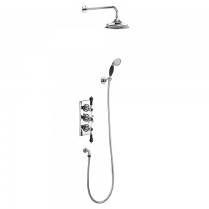 Burlington Trent thermostatic concealed shower valve - two outlet with fixed shower arm handset and holder with hose - chrome/black [TF3SBLA]