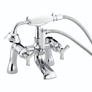 HERITAGE TGRDMOP02 Gracechurch Bath Shower Mixer - Chrome & Mother of Pearl