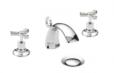 HERITAGE TGRDMOP06 Gracechurch 3 Taphole Basin Mixer - Chrome & Mother of Pearl