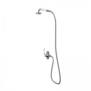 Burlington Ceramic telephone handset hose and diverter - Chrome/White [V27]