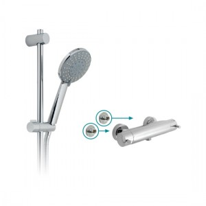 Vado CEL-1701-3/4-11-C/P Celsius 1 Outlet Exposed Shower Package with Easy-Fix Wall Brackets