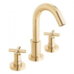 Individual by Vado IND-ELW101F-BG Elements 3 Hole Deck Mounted Basin Mixer with Pop-Up Waste 240-300 x 232mm Bright Gold