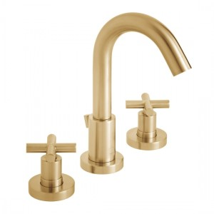 Individual by Vado IND-ELW101F-BRG Elements 3 Hole Deck Mounted Basin Mixer with Pop-Up Waste 240-300 x 232mm Brushed Gold