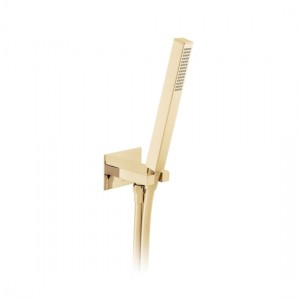 Individual by Vado IND-SFMKWO/SQ-BG Square WM Mini Shower Kit with Outlet & Bracket Bright Gold