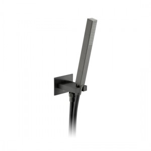 Individual by Vado IND-SFMKWO/SQ-BLK Square WM Mini Shower Kit with Outlet & Bracket Brushed Black