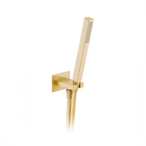 Individual by Vado IND-SFMKWO/SQ-BRG Square WM Mini Shower Kit with Outlet & Bracket Brushed Gold