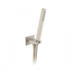 Individual by Vado IND-SFMKWO/SQ-BRN Square WM Mini Shower Kit with Outlet & Bracket Brushed Nickel